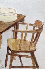 desk & chair (on explore) (emma2thomas) Tags: deskchair watercolour aquarelle art artworkonpaper emptychair gallery emmathomas