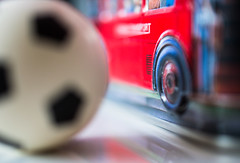 A double decker and a football - souvenir from London (Maria Eklind) Tags: makro dubbeldäckare fotbolll souvenir bokeh london dof bus closeup buss football doubledecker macromondays depthoffield macro