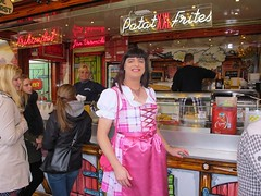 Oktoberfest (Paula Satijn) Tags: girl lady pink dress dirndl oktoberfest october feast apron french fries fun joy happy smile satin slik shiny skirt