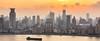 Sunset at the Bund (Chris Redan) Tags: shanghai china pano panorama canon mark 5d iii 50mm city skyline skyscraper metropolis ship water river waitan huangpu yellow orange oriental pearl tower