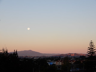 Moon setting over Mt. Tam