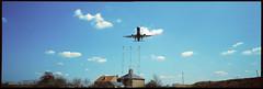 Heathrow. London TW14 (tonywright617) Tags: aeroplane heathrow london uk fujica g617 panoramic kodak ektachrome iso400 120 mediumformat reversal film analogue fullframe