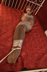 Tied,Hosed and Bagged new set now on site (Miss Nina Jay) Tags: pantiehose bondage gag balletboots tape
