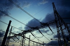 Day 295 : Is for  ... The Power (Storyteller.....) Tags: 365 deep365 nikon nikon365 power electric electricity lines sky night clouds antenna blue black shadows