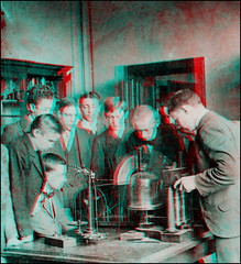 Physics Lesson 1899/1900 (anaglyph) (ookami_dou) Tags: vintage stereoview dessau germany realgymnasium school physics lesson teaching anaglyph