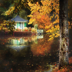 Last week of October. a secret Gazebo (Birgitta Sjostedt) Tags: autumn fall tree gazebo reflections pond water forest secret lastweek leaves texture paint topaz