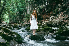 Lost in the forest (Alex Karamanov) Tags: portrait people girl light mood atmosphere art color vsco crimea her indoor melancholy outdoor landscape feelings contrast nature water watercourse lake mountains trees travel tranquility river cold swim reflection wood forest red hair abandoned enchantress riverbed trip surreal innocence summer green lady loneliness canyon
