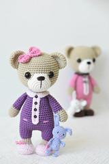 Sleepy Ida and Itsy-bitsy bunny (lilleliis) Tags: toys amigurumi crochet handmade pajamas pattern slippers bunny