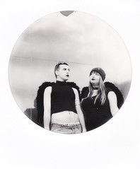 heavenly goth angels (buttercup caren) Tags: polaroid impossibleproject filmphotography blackandwhite eliot astrid goth roundframe