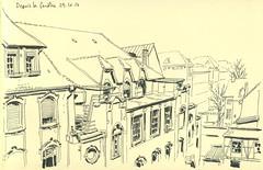 Depuis la fenêtre, chez moi, à Strasbourg (lolo wagner) Tags: croquis sketch usk urbansketchers strasbourg