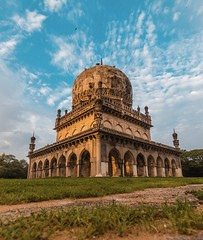 Beautiful Qutub Shahi Tombs during Sunset. (ashwin647) Tags: monsoon green light tones clouds goldenhour sky sunset telangana monuments tombs qutubshahi architecture hyderabad india