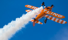 Going Over (The Crewe Chronicler) Tags: wingwalk wingwalkers breitlingwingwalkers breitlingwingwalkteam boeing boeingstearman stearman pt17 canon canon7dmarkii aircraft airdisplay airshow southportairshow southport lancashire aviation