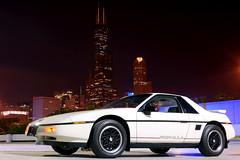 Joyrides II ([jonrev]) Tags: 1988 pontiac fiero formula chicago downtown loop uic sears tower skyline night parking lot plastic car automobile white dark city metropolis