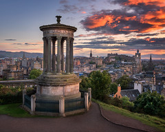 View of Edinburgh from Calton Hill at Sunset, Scotland, United Kingdom (ansharphoto) Tags: ancient architecture attraction beautiful britain building calton capital castle city cityscape clock corinthian culture dugald dusk edinburgh europe european evening famous heritage hill historic historical history iconic kingdom landmark landscape medieval memorial monument old red scotland scottish sky skyline stewart structure sunset tourism tower town travel uk united urban view