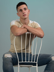 Dominic (PhotoMechanic.uk) Tags: male man guy dude youth model pose photoshoot boy studio jeans tshirt fashion trendy casual green blue chair sit sitting