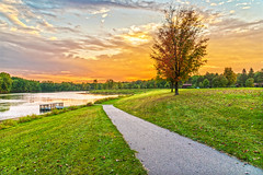 (Daniel000000) Tags: park wi sky clouds sunset sunlight green fall colors path trail wisconsin midwest wausau lake dock water tree trees forest nature landscape hike walking grass