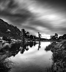 Lake Achard, French Alps (Ninouchon84) Tags: lake longexposure blackandwhite landscape paysage mountain clouds hiking france canon canonfrance alpes alps chamrousse filtrend hoya manfrotto water sunrise sun soleil morning winter cold