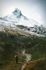The north face of the Matterhorn (Bazzerio) Tags: 35mm awesome analogue film ishootfilm trek hike vintage photographersontumblr tumblr shoot matterhorn north face explore mountain forrest under exposed grainy painting