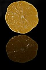 2017 Sydney: small orange half (dominotic) Tags: 2017 food fruit smallorange orangehalf reflection circle blackbackground citrusfruit sydney australia