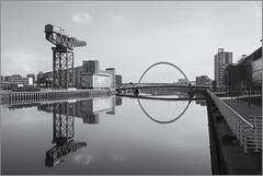 IMG_4832Squinty Bridge Reflection (ronniefleming@btinternet.com) Tags: blackwhite cityscape glasgow crane reflections mirrorimage ronnieflemingauchterarder