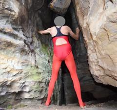 Pantyhose and swimsuit (wetmuddy) Tags: tight strumpfhose fun lycra spandex outdoor sächsischeschweiz swimsuit leotard unitard