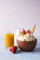 cottage cheese with milk and orange juice (lyule4ik) Tags: breakfast food healthy juice meal milk diet orange table background cottagecheese eating lifestyle morning tasty cup drink white bowl fresh health natural nutrition organic snack fruit bed bread strawberry coffee coffeecup couple glass greece happy healthyfood holiday hotel interior luxury outside romantic summer