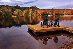 Front Row Seats (lfeng1014) Tags: frontrowseats inviting autumncolours oxtonguelake algonquin ontario canada landscape autumn cottage lakefront reflection colourful canon5dmarkiii ef1635mmf28liiusm lifeng adirondackchairs relaxing
