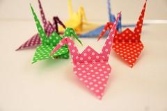 Paper Crane (Eridanus 21) Tags: chiyogami papercrane origami おりがみ ツル 折り紙 折り鶴 paper おりがみ写真 origamiphoto 花柄ツル 花柄
