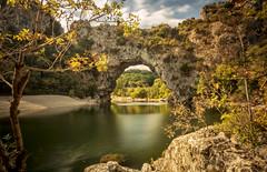 Pont d'Arc (cliveg004) Tags: pontdarc ardeche riverardeche gorge river le limestone arch naturalarch rocks trees autumn goldenleaves france naturalwonder nikon d5200 challengegamewinner