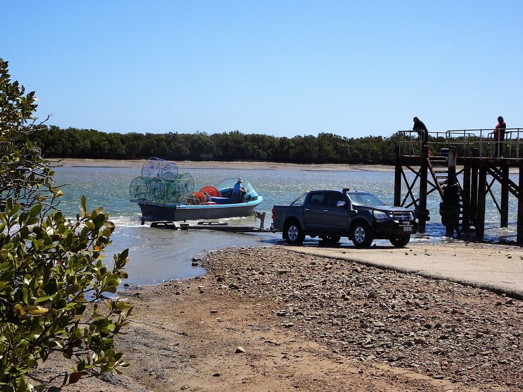 Port Davis South Australia. Mangroves and fisherman on the Broughton River estuary.