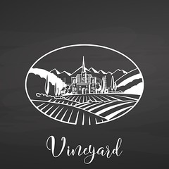 Vineyard logo and title on chalkboard (Hebstreits) Tags: agribusiness agriculture background blackboard chalkboard country dark drawn etching farm field france grapes hand harvest harvesting house icon illustration italy label landscape linear lines logo meadow outline package rural rustic season sketch symbol tuscan tuscany vector villa village vine vineyard white wine winery