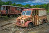 Just a Couple of Flats (Richard Adams Photography) Tags: truck junkyard maine train trolley seashoretrolleymuseum old rust milk windshield sky trees flattire
