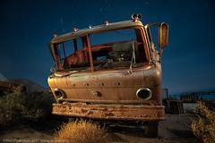 Staring Into the Abyss (dejavue.us) Tags: lightpainting longexposure pearsonville nightphotography nikon desert d800 180350mmf3545 truck junkyard fullmoon mojavedesert nikkor abandoned california vle