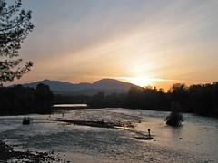 Fishermen & Goose (FotoFreekus) Tags: fishing sunset river water dusk goose fisherman fishermen