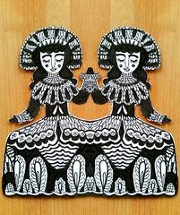 Paper Dolls (Lindsaywhimsy) Tags: paperdolls ink pattern doodle costume