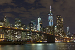 Brooklyn Bridge By Night (Forget Me Knott Photography) Tags: ny nyc newyork newyorkcity manhatten brooklyn brooklynbridge bridge nightphotography night dark lights cityscape skyline manhattenskyline newyorkskyline freedomtower worldtradecenter water river eastriver reflection