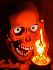 Fire...Pretty-HMM! (Warming Up A Little) Tags: macromondays halloween slim small skeleton light candle electric