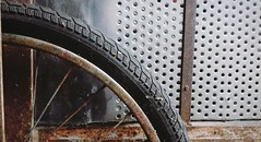 Rust and dust (photographymemories) Tags: rust old aged bike tire abandoned