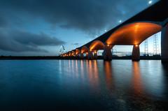 De Oversteek (m0nt2) Tags: deoversteek nijmegen operationmarketgarden thecrossing wwii bridge waal river orange blue sunset