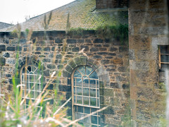 Looking out through dirty old windows II (dunard54) Tags: stoneyholm mill kilbirnie wj knox ayrshire manufacturing open doors