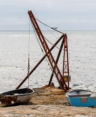 Standing on the horizon (Jeff Derbys) Tags: dorset crane gull sea dinghy