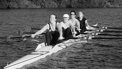 4x 16-09-17  (11 bw) (Big Warby) Tags: davidwarburton bigwarby northyorkshire stocktonontees rivertees river rowing sculling quad 4x boat scull blades women exercise
