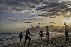 Altinho at sunset I (Daniel Schwabe) Tags: sunset beach ocean hills ipanema arpoador riodejaneiro rj brasil brazil clouds travel tourism sand soccer
