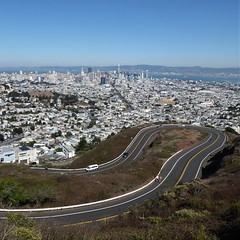 San Francisco, CA, Hairpin Turn and Downtown View from Mount Sutro on Twin Peaks (Mary Warren (9.3+ million views)) Tags: sanfranciscoca architecture twinpeaks mountsutro twin pea landscape downtown urban buildings road street hairpinturn