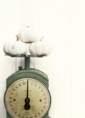 (donna leitch) Tags: pumpkin whitepumpkins stilllife donnaleitch scale kitchenscale foodscale tabletop vintage