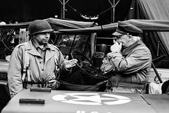 Conversation (scarbrog) Tags: 1940 40s soldier blackandwhite monochrome conversation consideration consider listen listener jeep ww2 gi holme 40sweekend