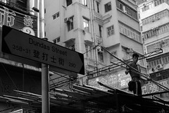 Dundas Street and the Worker, Mong Kok, Hong Kong (Job Homeless) Tags: leica blackandwhite bw monochorme monotone mongkok streetsnap streetphotography summicronm35mmf2asph people portrait hongkong life living