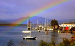 HUON RIVER RAINBOW (Lani Elliott) Tags: lanielliott river huonriver franklin view scene scenic rainbow sky bluesky scenictasmania boats colour color colourful bright light fantastic excellent beautiful wow gorgeous