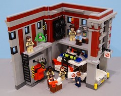 New Firehouse Interior (Hobbestimus) Tags: lego moc ghostbusters firehouse slimer toys 80s cartoon movie ecto1 raystanz egonspengler petervenkman janine winstonzeddemore walterpeck