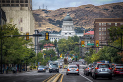 The Utah State Capitol Building (donnieking1811) Tags: utah saltlakecity capitolbuilding statestreet dome traffic downtown cars outdoors sky clouds hdr canon 60d lightroom photomatixpro